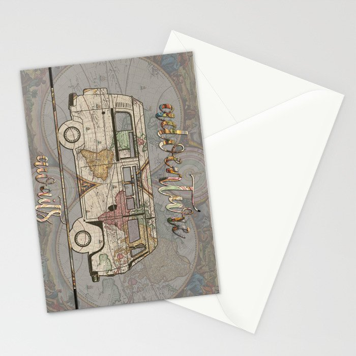 adventure awaits world map design 1 Stationery Cards