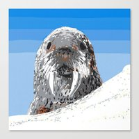 walrus Canvas Prints featuring Walrus by wingnang