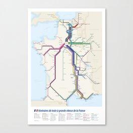 Itinéraires de train à grande vitesse de la France Canvas Print