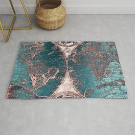 Antique World Map Pink Quartz Teal Blue by Nature Magick Rug