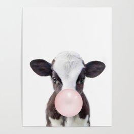 Bubble Gum Baby Cow Poster