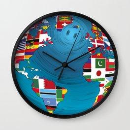 World Map Globe Atlas National Flags Earth Day Wall Clock