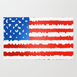 United states flag stylized as stained glass Rug