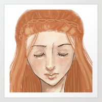 sansa Art Prints featuring Downwards by laurarts