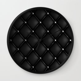 Black Quilted Leather Wall Clock