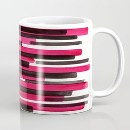 Magenta Primitive Stripes Mid Century Modern Minimalist Watercolor Gouache Painting Colorful Str Coffee Mug
