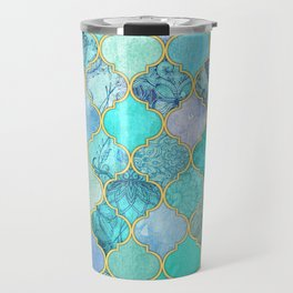 Cool Jade & Icy Mint Decorative Moroccan Tile Pattern Travel Mug