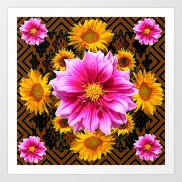 Coffee Brown Yellow Sunflowers Purple Dahlias Art Art Print