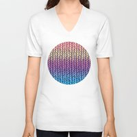 knit V-neck T-shirts featuring Rainbow Gradient Chunky Knit Pattern by micklyn