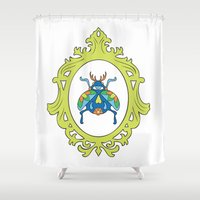 beetle Shower Curtains featuring Beetle by Kelly Gogas
