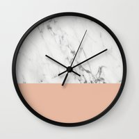 Wall Clocks featuring Marble and Coral by Grace