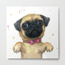 Cute Pug Puppy Dog Watercolor Painting Metal Print