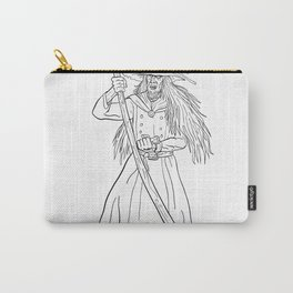Ankou Graveyard Watcher With Scythe Drawing Black and White Carry-All Pouch