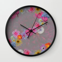 Flowers mixed Wall Clock