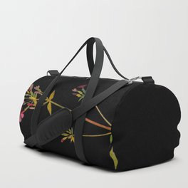 Phlox Carolina Mary Delany Vintage British Floral Flower Paper Collage Black Background Duffle Bag