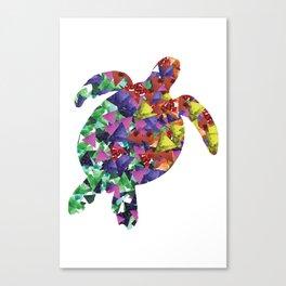 Sea Turtle Print Watercolor Triangles Canvas Print