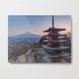 Chureito Pagoda with a view over Mount Fuji | Travel photography Japan Art Print Metal Print