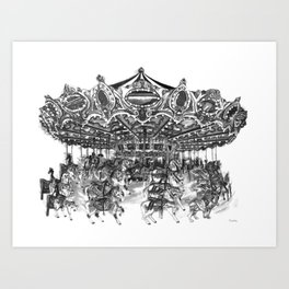 Carousel Drawing | Merry Go Round Art Print Art Print