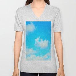 White Clouds Bright Blue Sky Unisex V-Neck