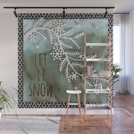 Let It Snow Greeting And Wintry Branch Wall Mural