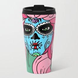 Pastel Sugar Skull Metal Travel Mug