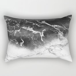 Modern black and white marble ombre watercolor color block Rectangular Pillow