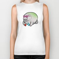 manatee Biker Tanks featuring Party Manatee by Theo Nicole Lorenz