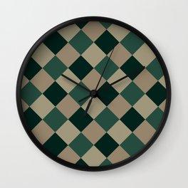 Brown green plaid Wall Clock