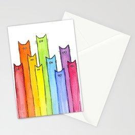 Nursery-Art-Print-Cat-Rainbow-Whimsical-Animals Stationery Cards