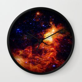 Fiery gAlAXy Indigo Stars Wall Clock