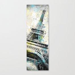Modern Art Eiffel Tower Splashes | Panorama Canvas Print