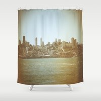 san francisco Shower Curtains featuring San Francisco by Christine Workman