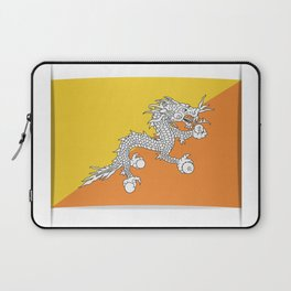 Flag of Bhutan.  The slit in the paper with shadows. Laptop Sleeve