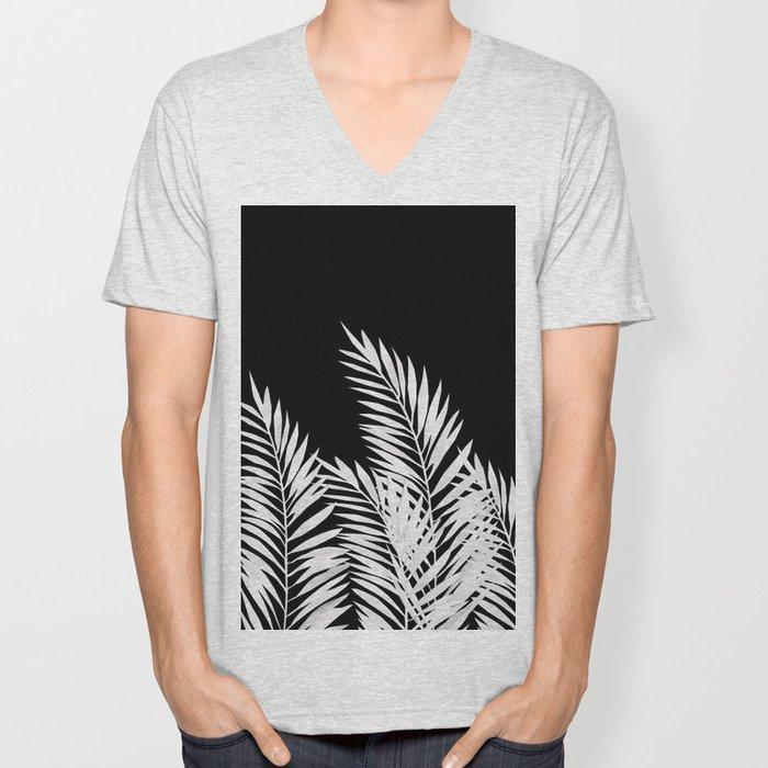 Palm Leaves White Unisex V-Neck