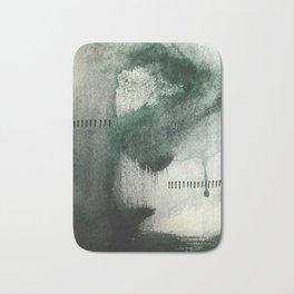 Last Kiss: a minimal, abstract watercolor piece in greens Bath Mat