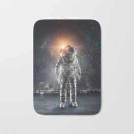 galaxy astronaut Standing alone in the city Bath Mat