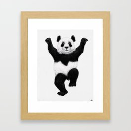 Panda Crane Technique - charcoal drawing Framed Art Print