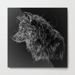 wolf scribble Metal Print