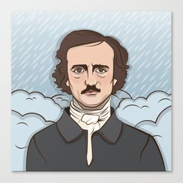 Poe in the Rain Canvas Print