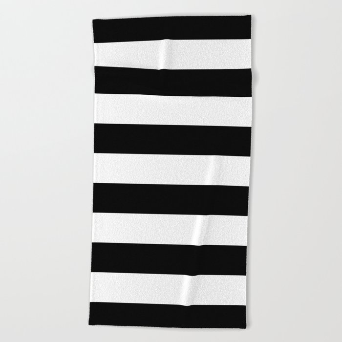 Stripe Black & White Horizontal Beach Towel