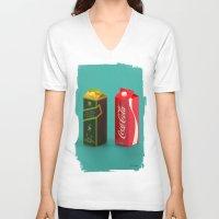 whisky V-neck T-shirts featuring Whisky Cola by Maxim Kirienko Art