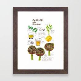 illustrated recipes: carciofi alla romana Framed Art Print