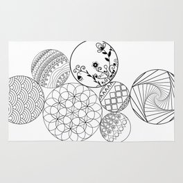 Mandalas, circles and flowers Rug