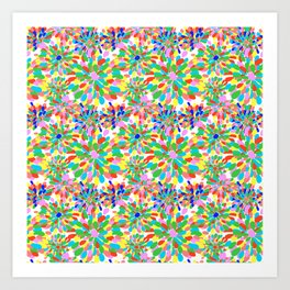 Rainbow Pom Pom Mums in White Art Print