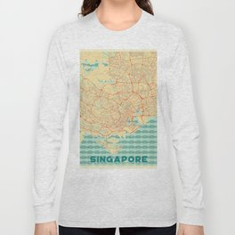 Singapore Map Retro Long Sleeve T-shirt