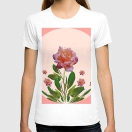 PINK ROSES CORAL BOTANICAL VINTAGE ART T-shirt