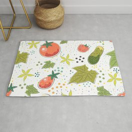Seamless Pattern with Cute Cucumbers and Tomatoes. Scandinavian Style Rug
