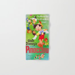 1962 Vintage Pinocchio Movie Poster Hand & Bath Towel