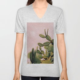 Cactus on Pink Sky Unisex V-Neck