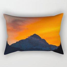 Stunning vibrant sunset behind mountain Rectangular Pillow